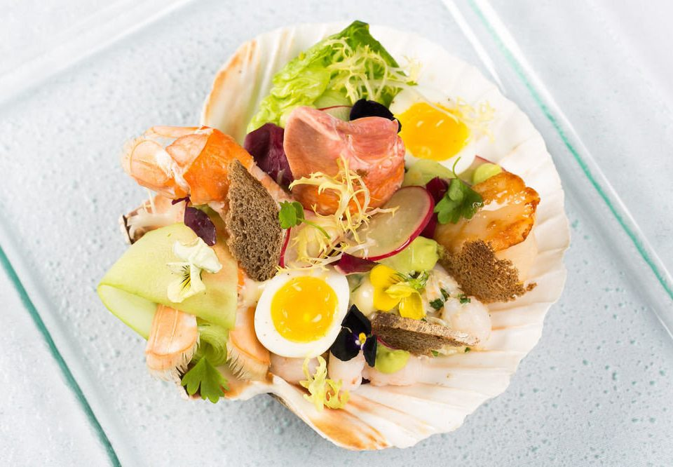 food plate salad smoked salmon hors d oeuvre cuisine fruit prosciutto meat breakfast arranged sliced