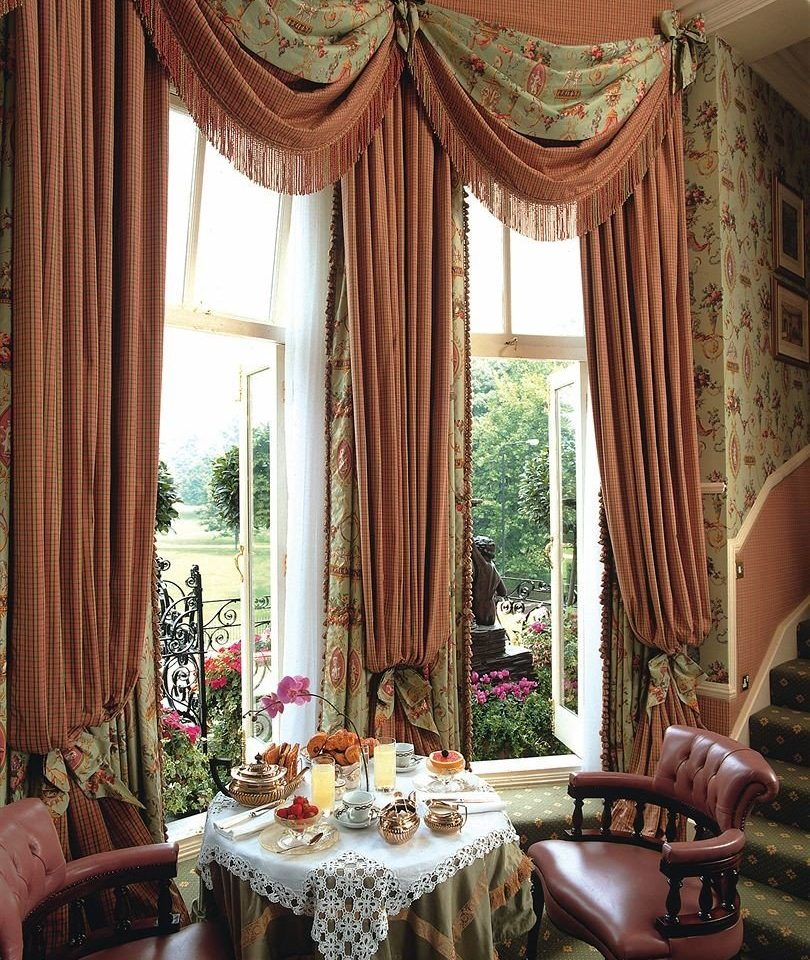 chair curtain window treatment textile living room decor material arranged