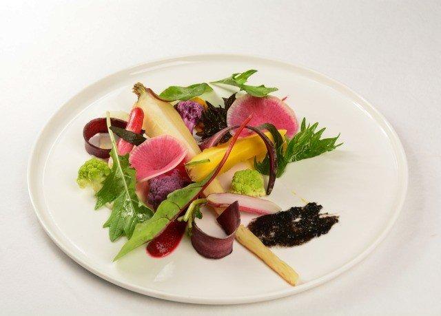 plate food sashimi salad fruit white hors d oeuvre vegetable cuisine greek salad arranged sliced containing square fresh piece de resistance