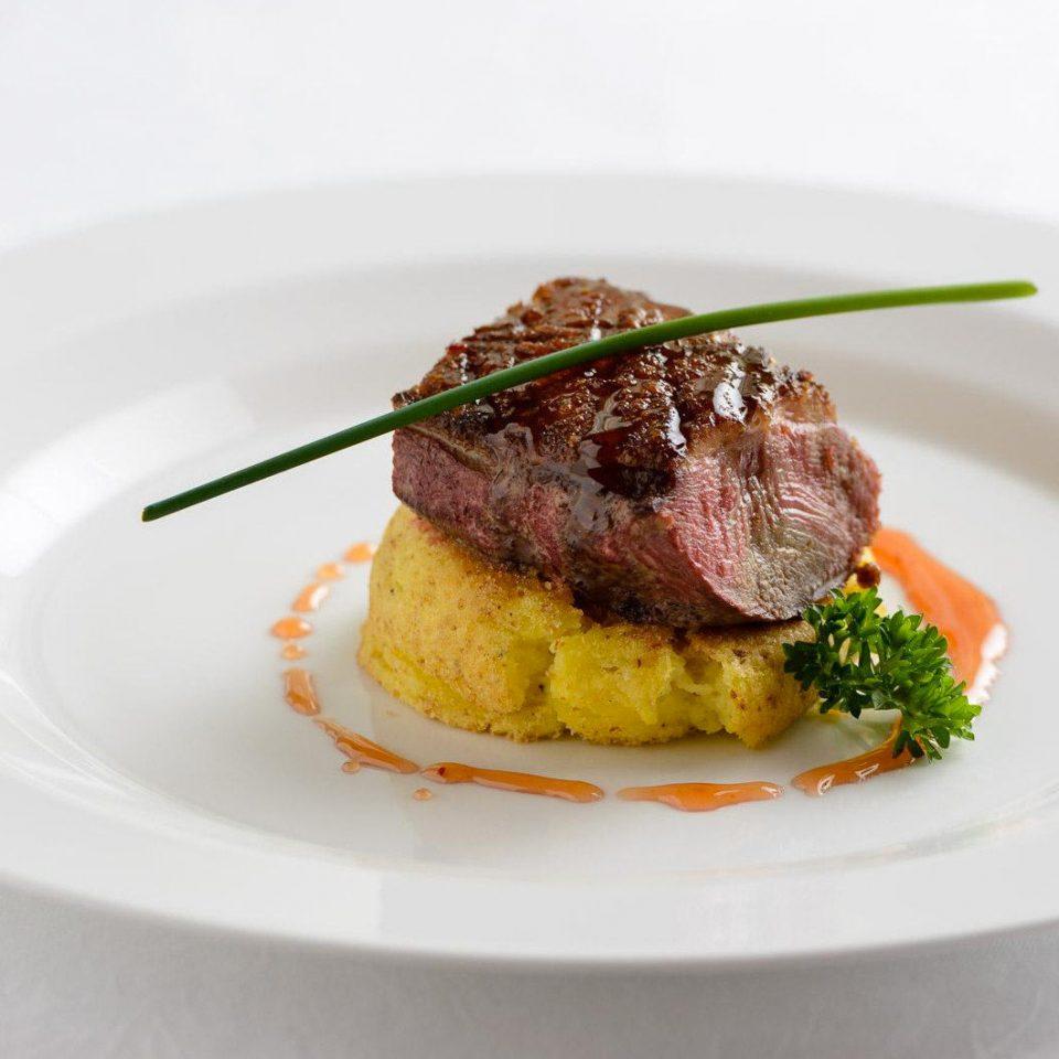 plate food white meat piece cuisine square dessert arranged piece de resistance