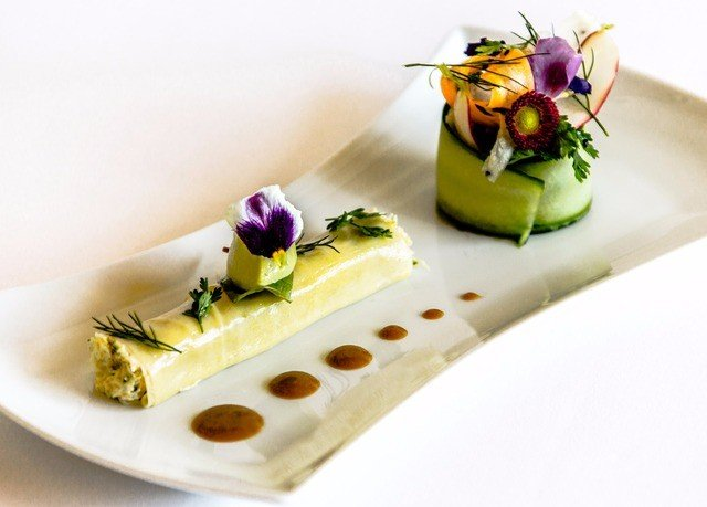 plate food white cuisine dessert slice sliced arranged