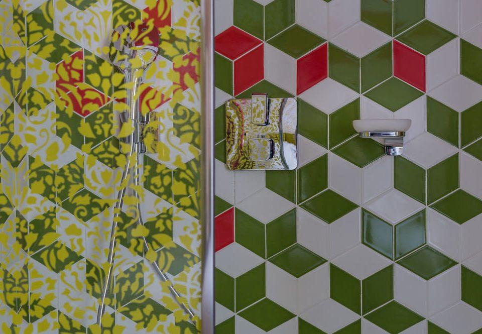 green art tiled flooring pattern mosaic tile shape symmetry glass bathroom