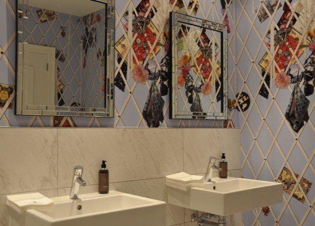 bathroom art sink tourist attraction flooring tiled
