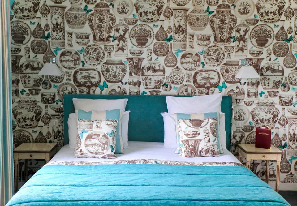blue bed sheet art textile wallpaper living room