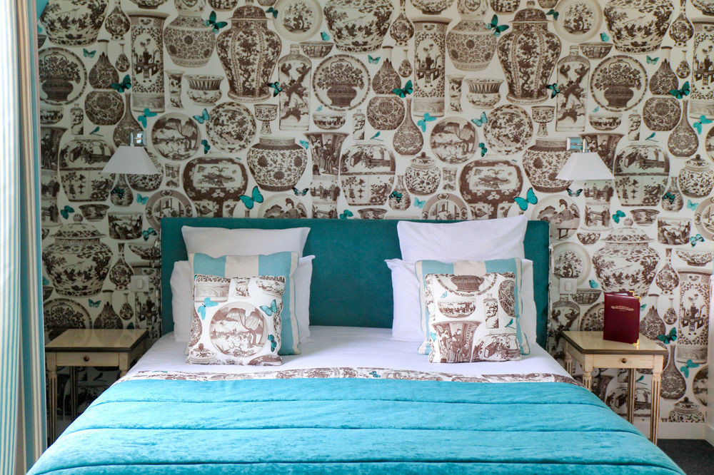 blue bed sheet art textile wallpaper living room