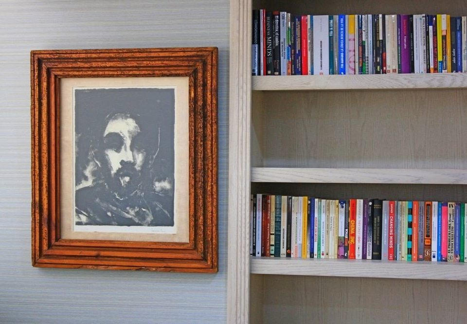 book shelf color blue art picture frame shelving