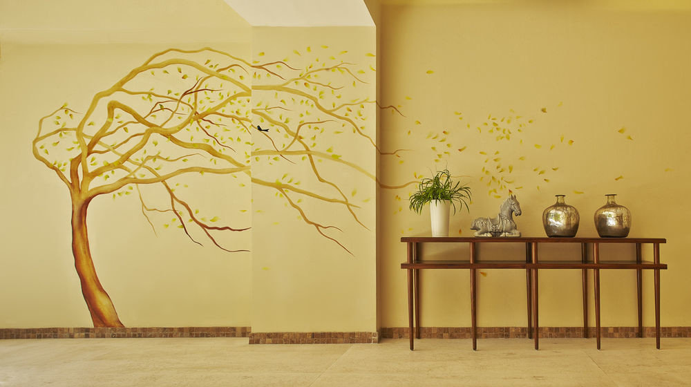 yellow modern art mural art branch painting drawing illustration wallpaper