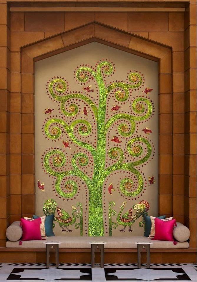 color green art floristry mural flower modern art glass living room