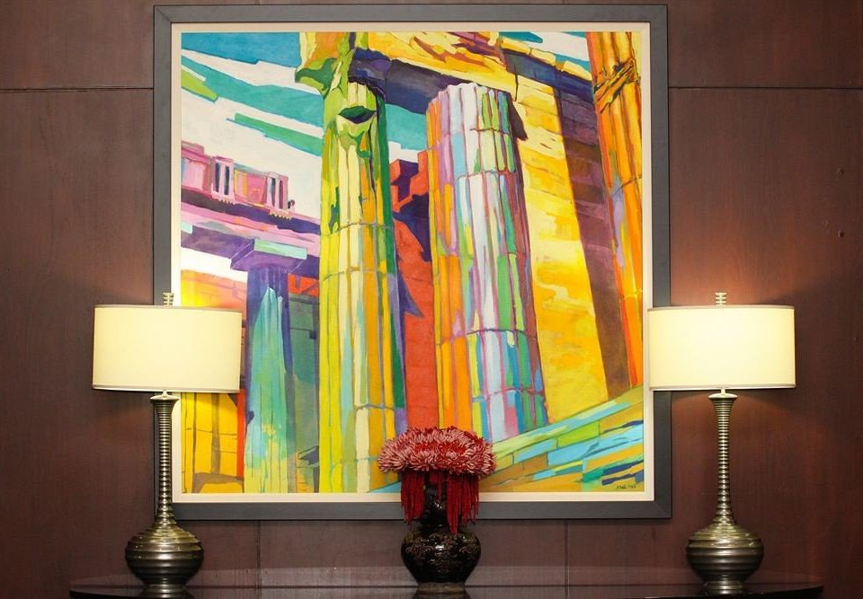 color modern art painting yellow mural art lighting glass material