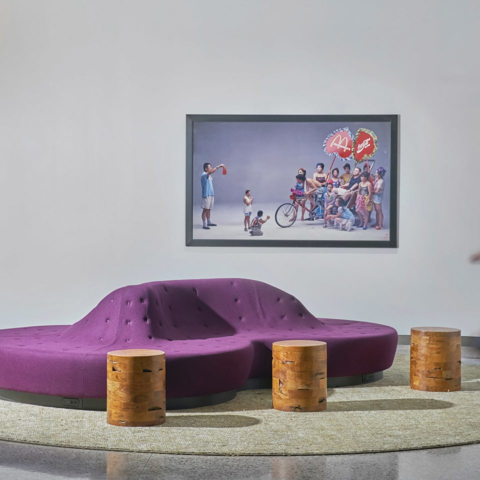 art pink purple modern art tourist attraction mural colored