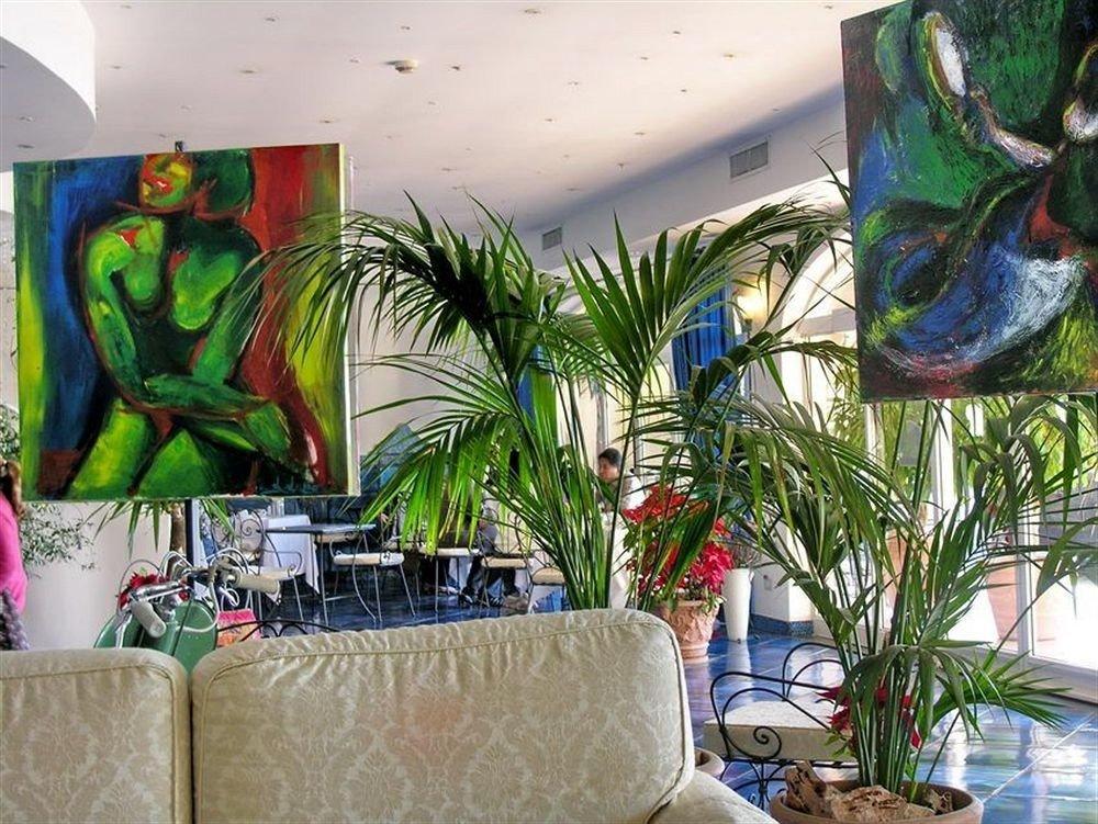 plant mural art modern art floristry painting flower restaurant colorful