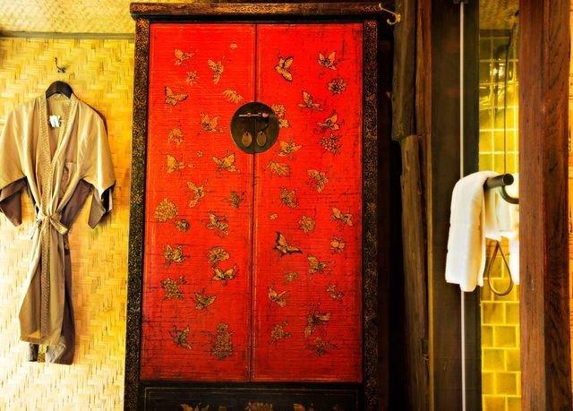 red wardrobe art door