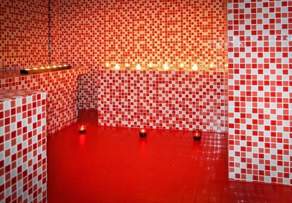 red flooring art tiled