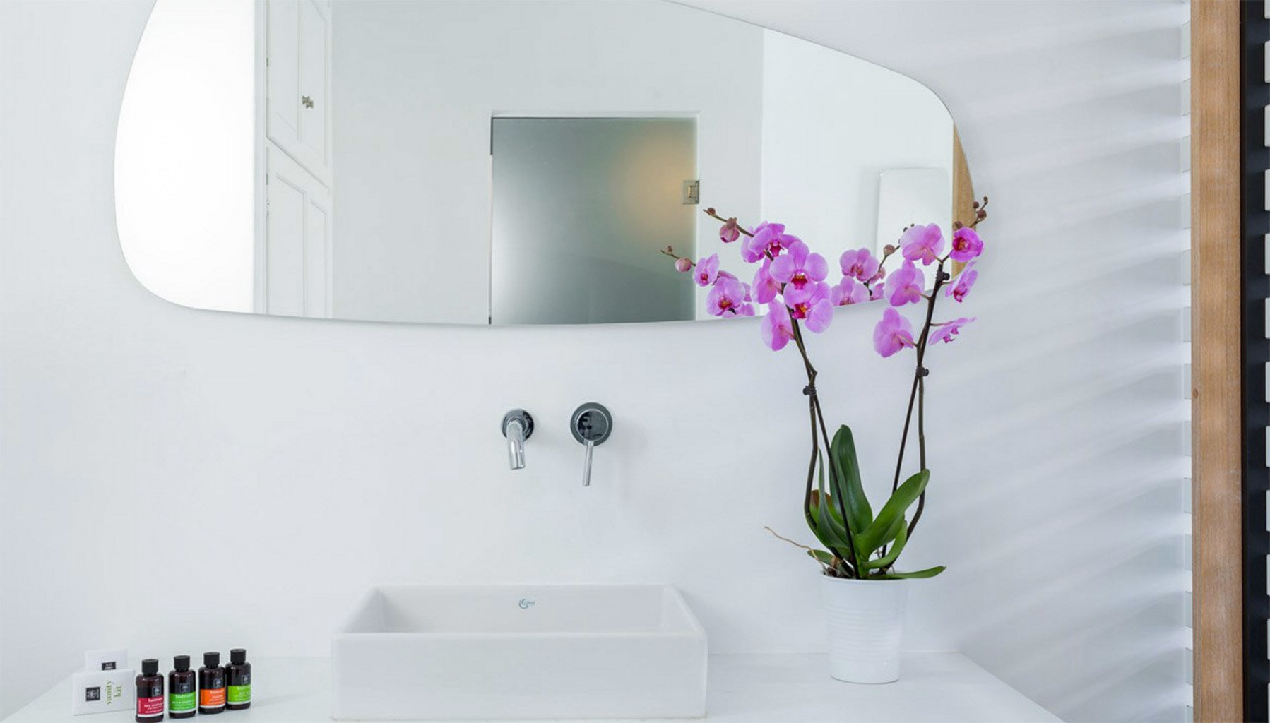 white flower art lighting shelf
