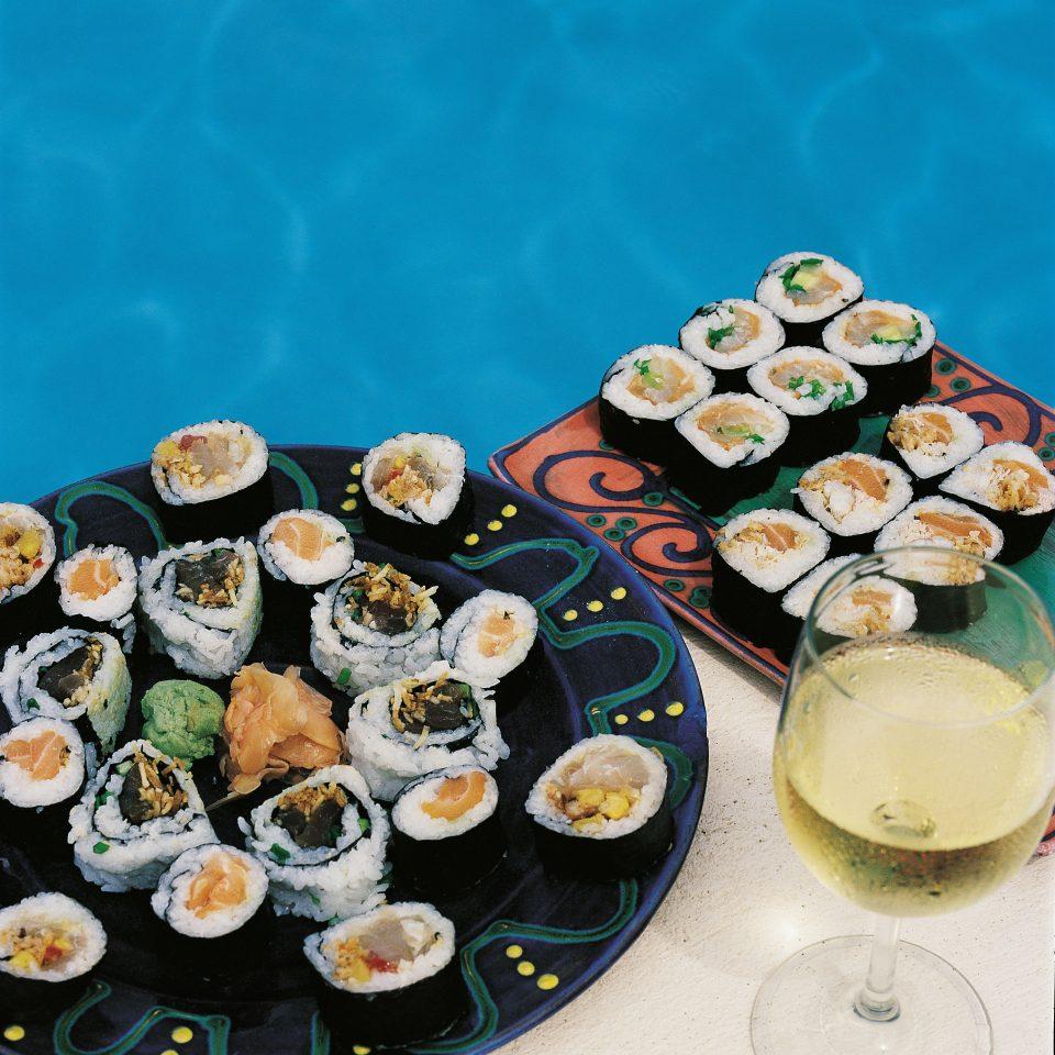 food cuisine plate sushi gimbap asian food california roll