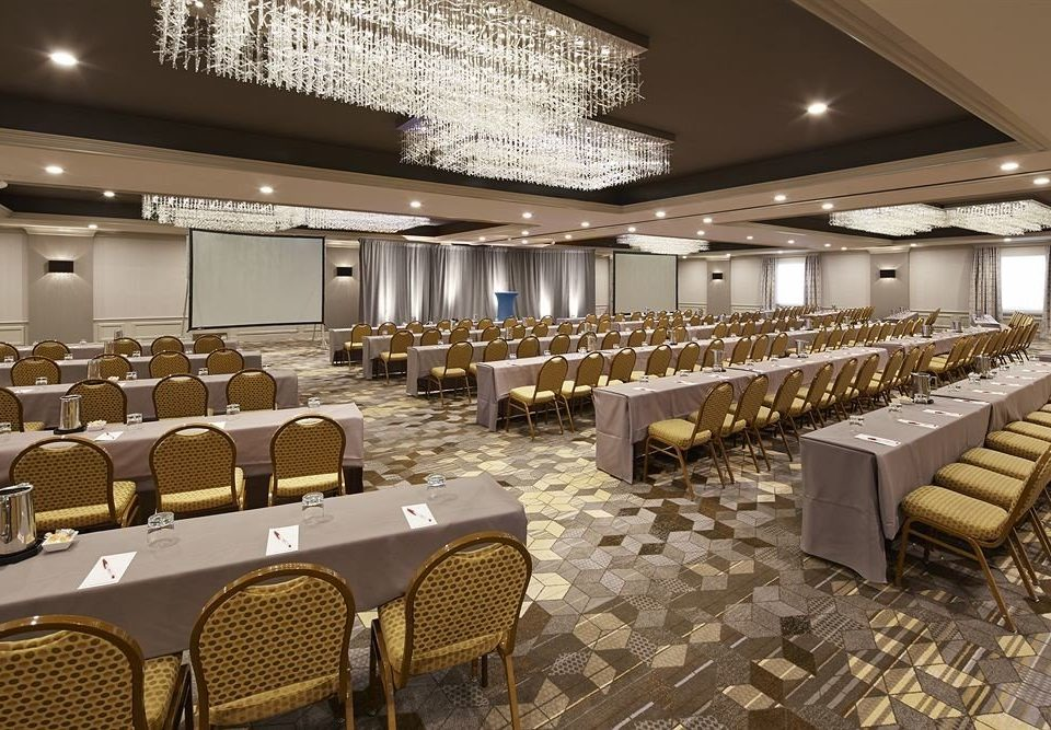 chair auditorium function hall conference hall convention center ballroom restaurant banquet meeting convention long bunch lined line