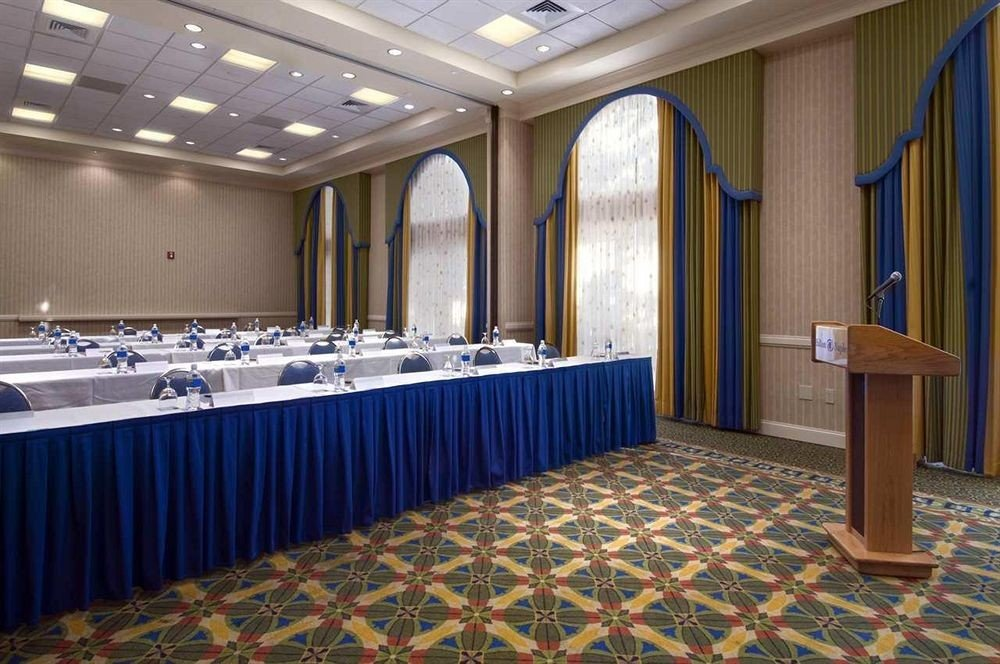 conference hall function hall auditorium convention center ballroom blue tiled colored