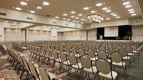 chair auditorium conference hall building function hall convention center row ballroom lined meeting empty line conference room