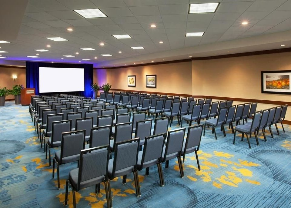 auditorium chair scene conference hall function hall classroom convention center meeting convention ballroom lined conference room