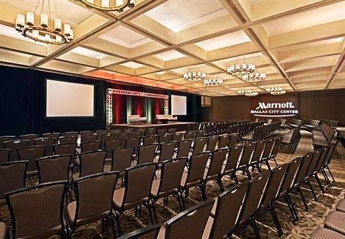 auditorium conference hall function hall convention center ballroom theatre long lined line conference room