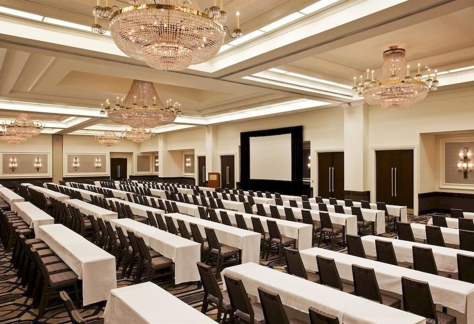 auditorium function hall conference hall ballroom convention center meeting long lined conference room