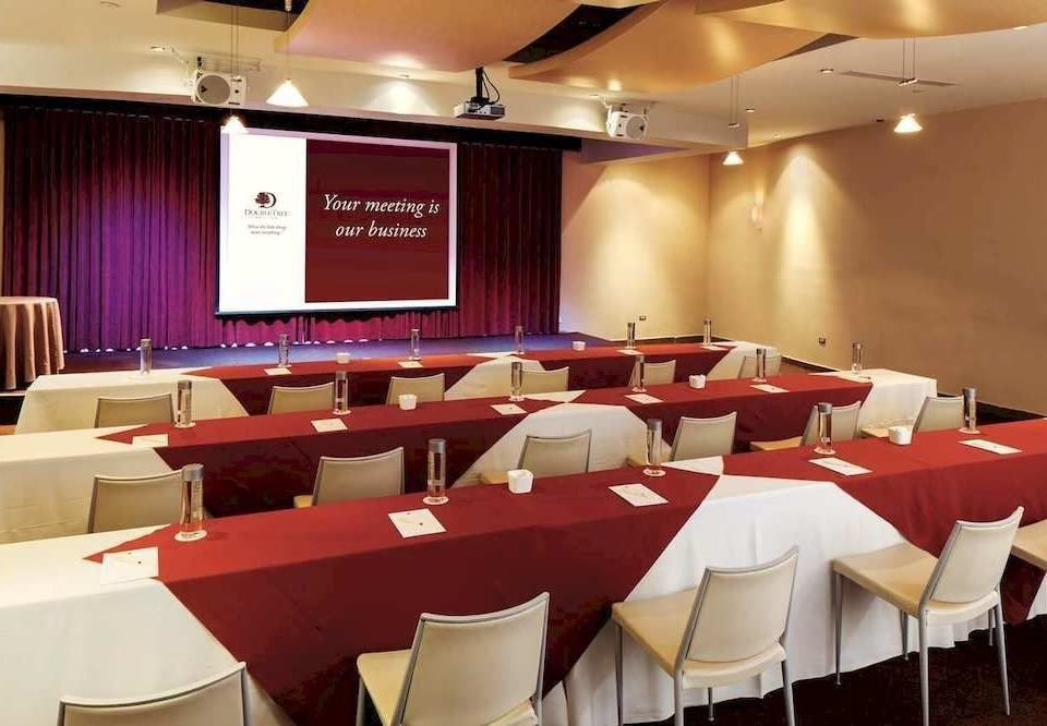 function hall conference hall red restaurant meeting convention center auditorium banquet conference room