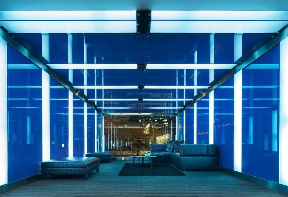 building headquarters auditorium hall blue