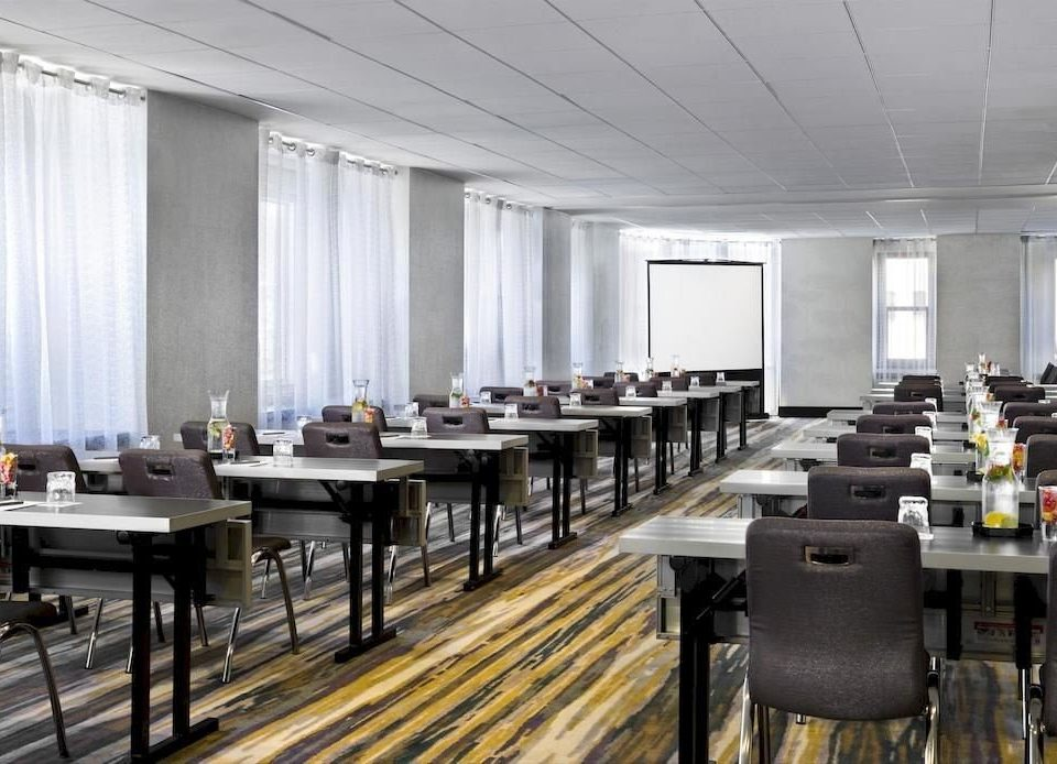 classroom conference hall auditorium cafeteria function hall convention center restaurant