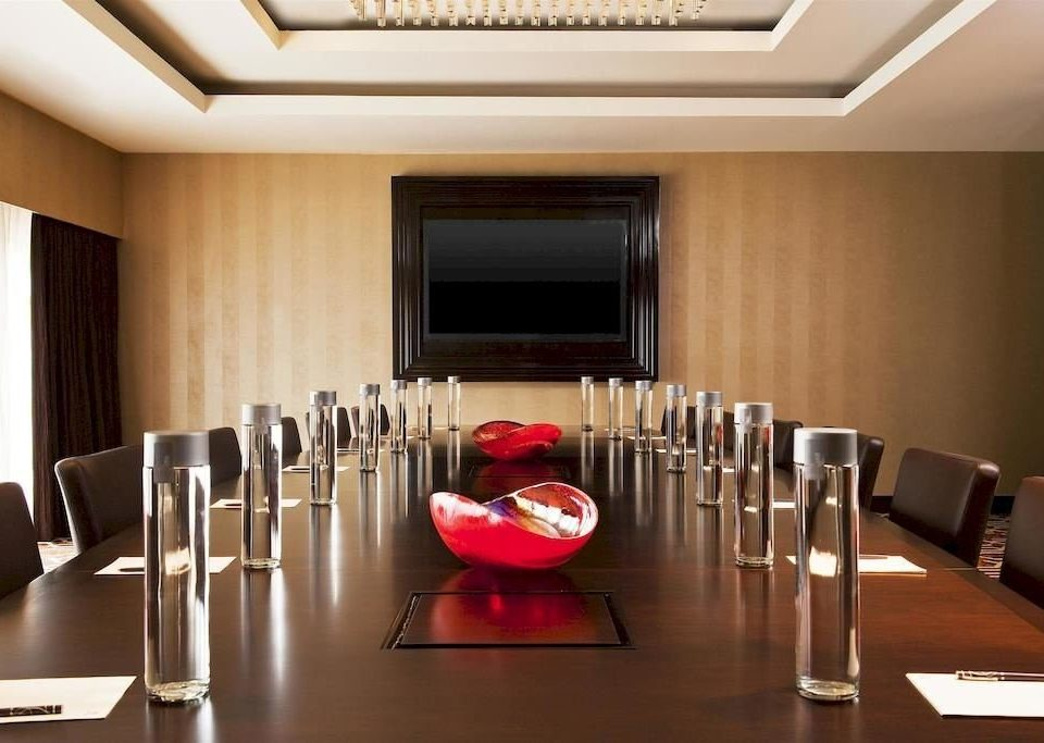 conference hall auditorium function hall red restaurant meeting convention center conference room dining table