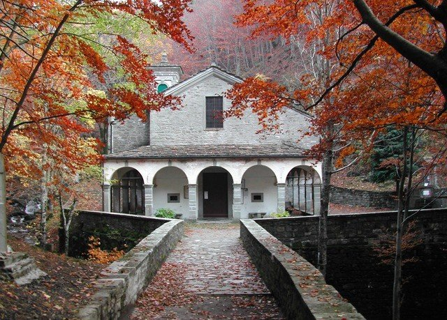 tree house season building autumn brick stone leaf flower shrine place of worship old