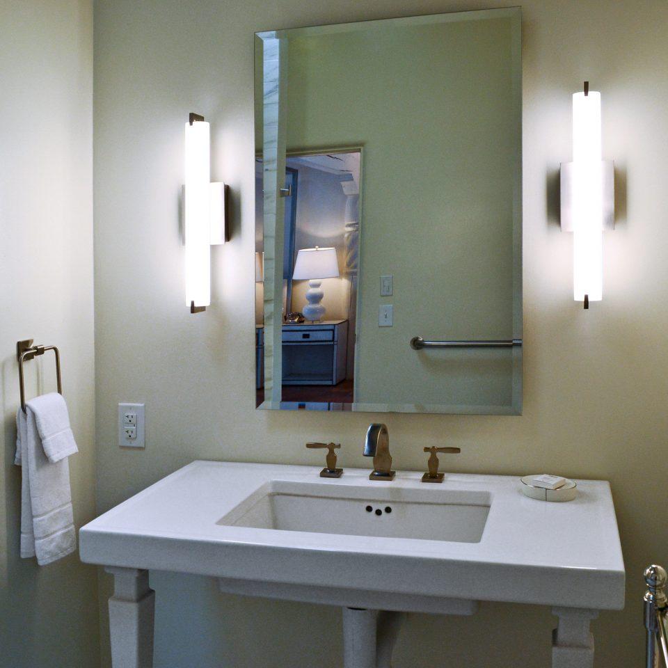 B&B Bath Rustic bathroom mirror sink property toilet towel home plumbing fixture light rack tile tan