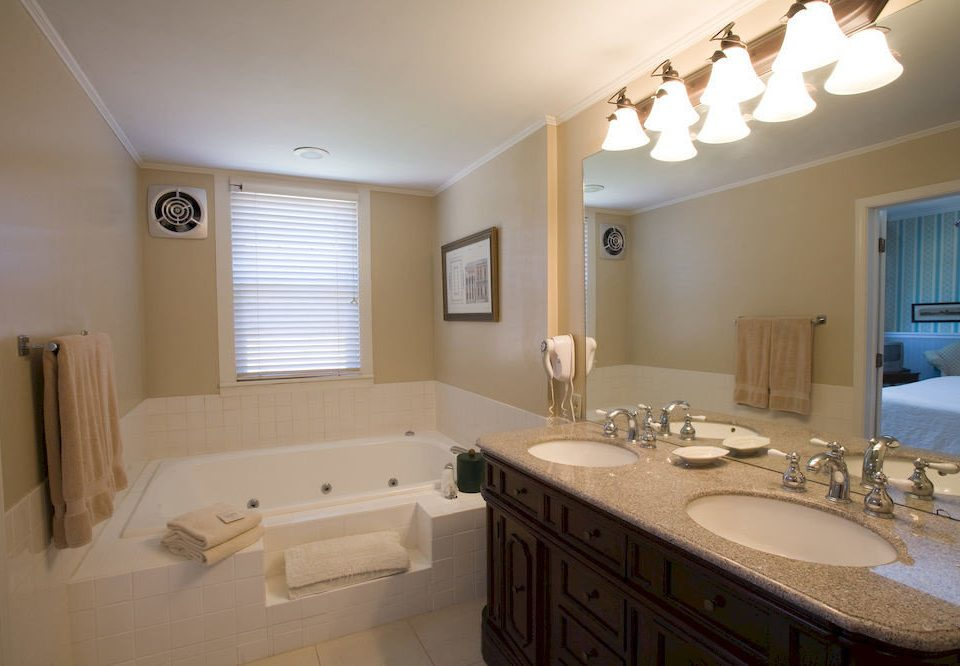 B&B Bath bathroom property sink home cottage Suite tan tub bathtub