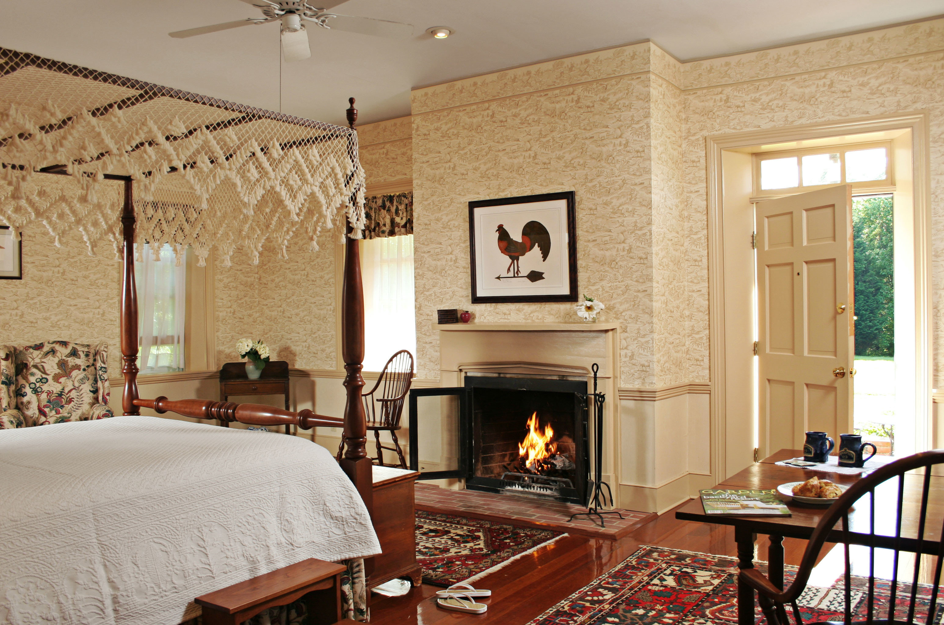 B&B Bedroom Classic Country Fireplace Inn Romantic fire property chair living room home hardwood cottage farmhouse Suite