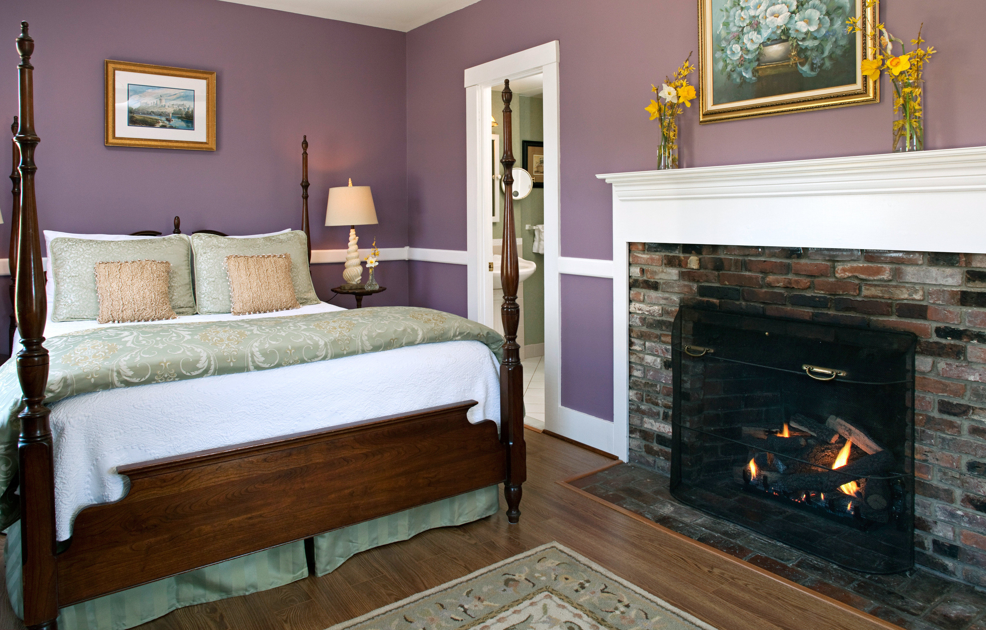 B&B Bedroom Country Fireplace Historic property cottage home living room hardwood stone