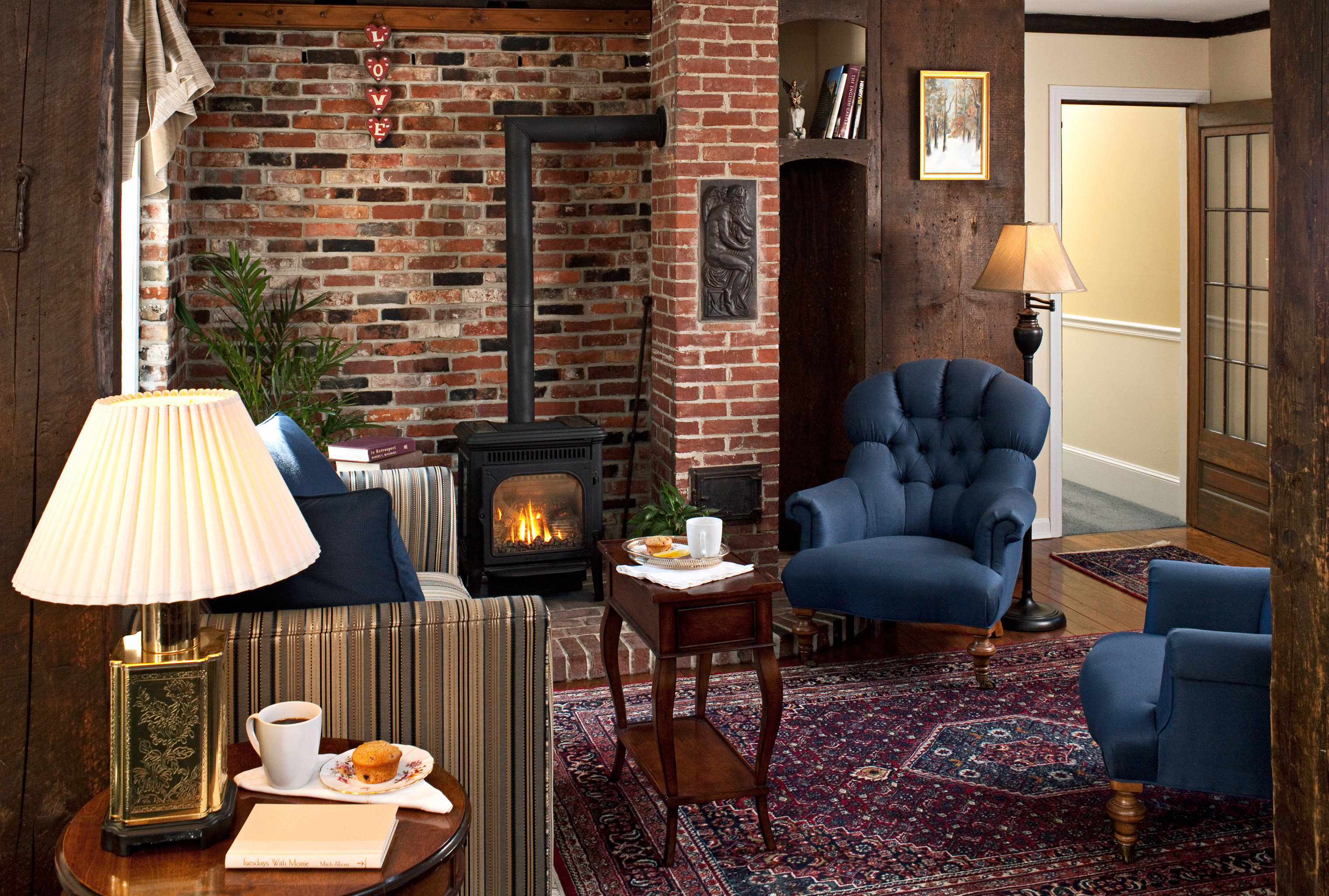 B&B Country Fireplace Historic Lounge chair property living room home house cottage lighting farmhouse stone