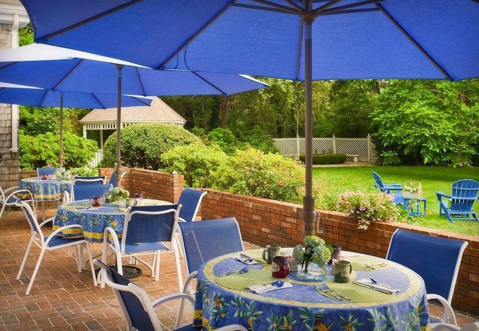 B&B Deck Romantic umbrella chair leisure blue backyard Resort restaurant Villa set