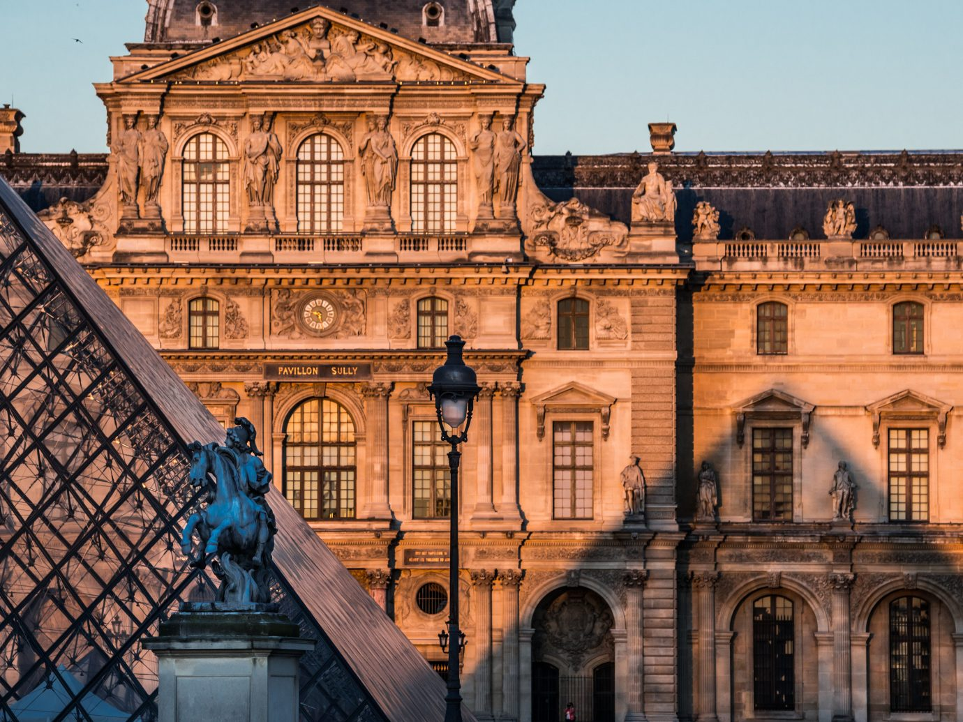 Exterior of Musee du Louvre in Paris