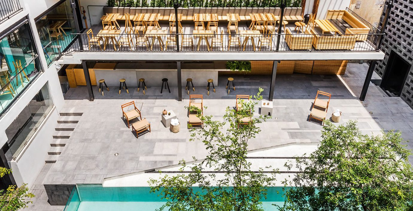 artistic artsy Boutique chic Hip Jetsetter Guides lounge chairs Luxury Modern outdoor pool Patio Pool private Terrace trendy Trip Ideas outdoor estate Courtyard plaza facade Resort mansion condominium urban design