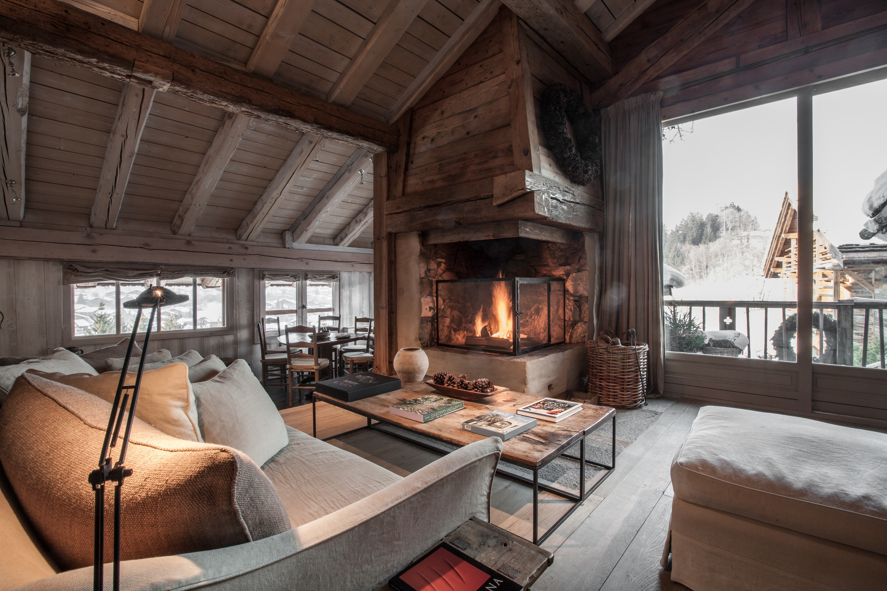 Secret Getaways Trip Ideas Winter indoor room window bed living room interior design Bedroom hearth wood Fireplace home real estate ceiling estate furniture stone