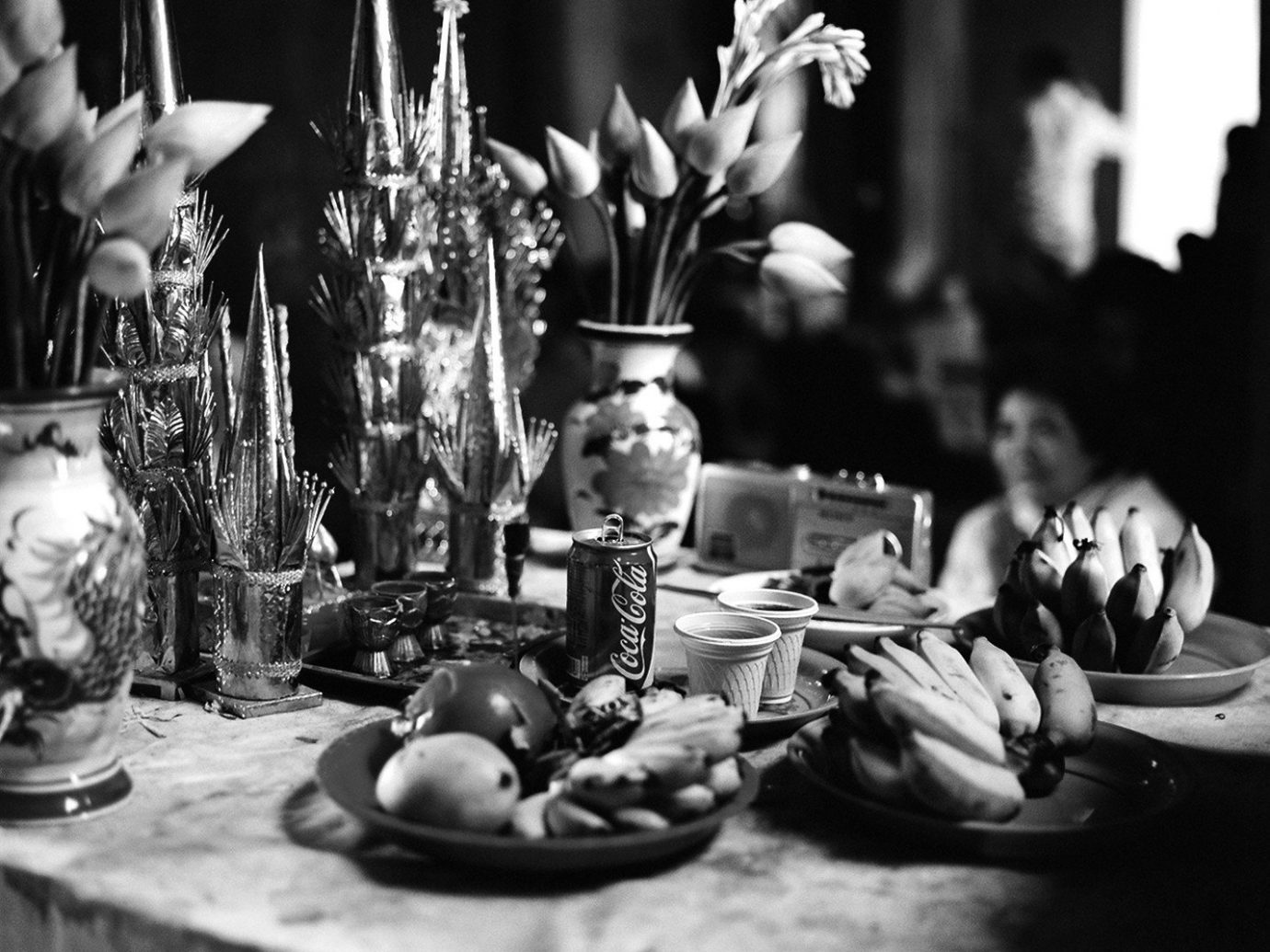 Offbeat table indoor photograph black and white photography monochrome monochrome photography flower set dining table