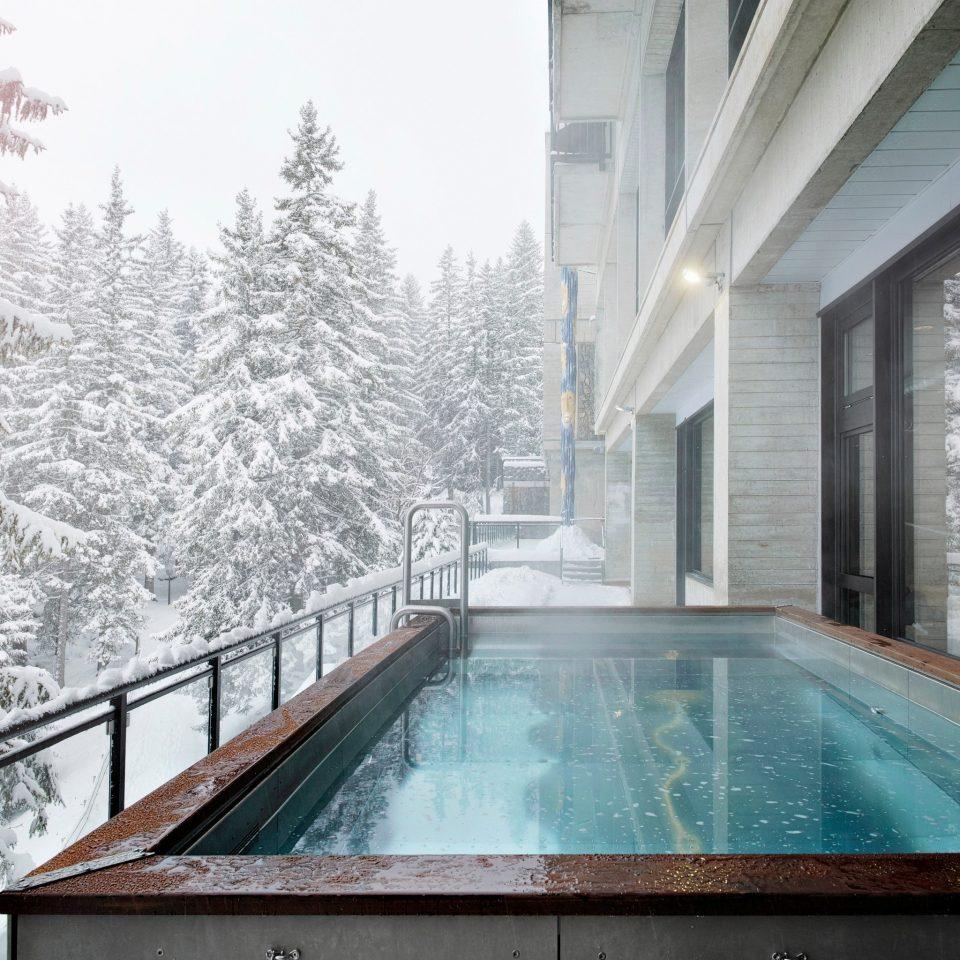 swimming pool house backyard home snow