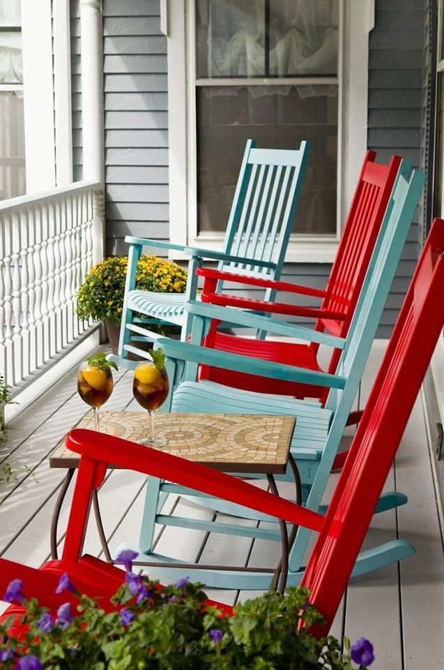 color red porch home Balcony chair backyard outdoor structure