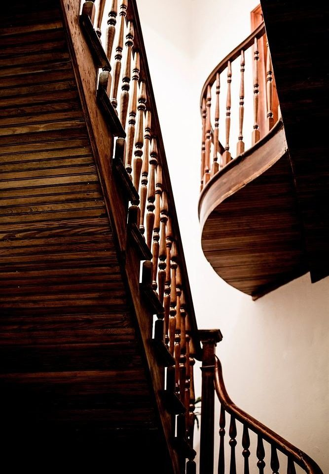 stairs building light step handrail wooden bridge symmetry line baluster plucked string instruments Balcony