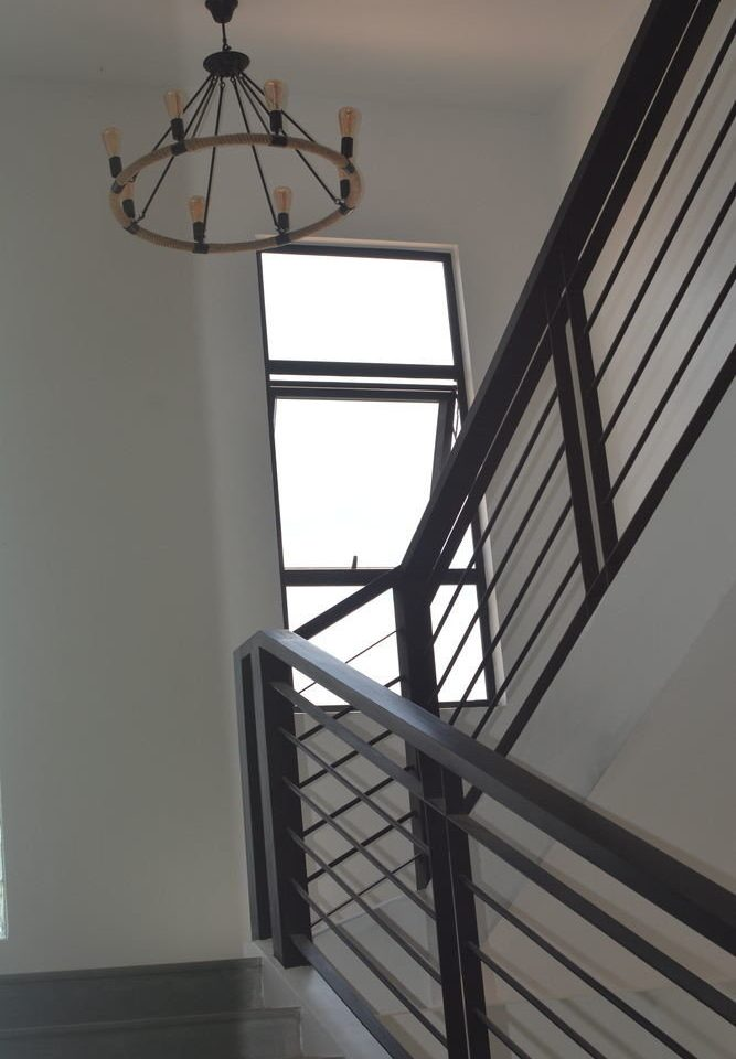 building handrail stairs iron daylighting lighting Balcony baluster outdoor structure step metal