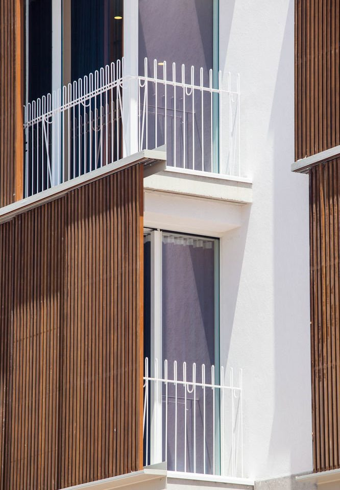 hardwood baluster handrail stairs home door Balcony outdoor structure tan