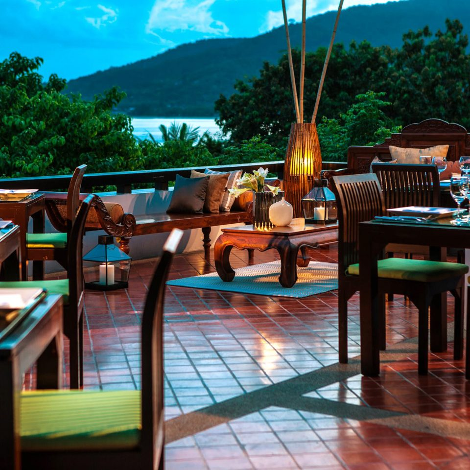 Balcony Beachfront Cultural Dining Drink Eat Jungle Outdoors Resort Romantic Terrace Tropical Waterfront tree leisure chair restaurant Bar set