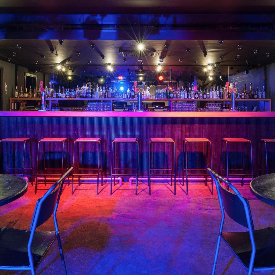 Balcony Dining Drink Eat chair nightclub Bar club music venue function hall blue empty