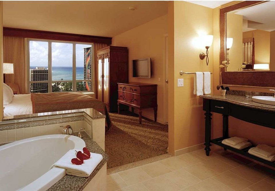 Balcony Bedroom Classic Resort Scenic views bathroom property mirror sink Suite home cottage Villa tub Bath bathtub