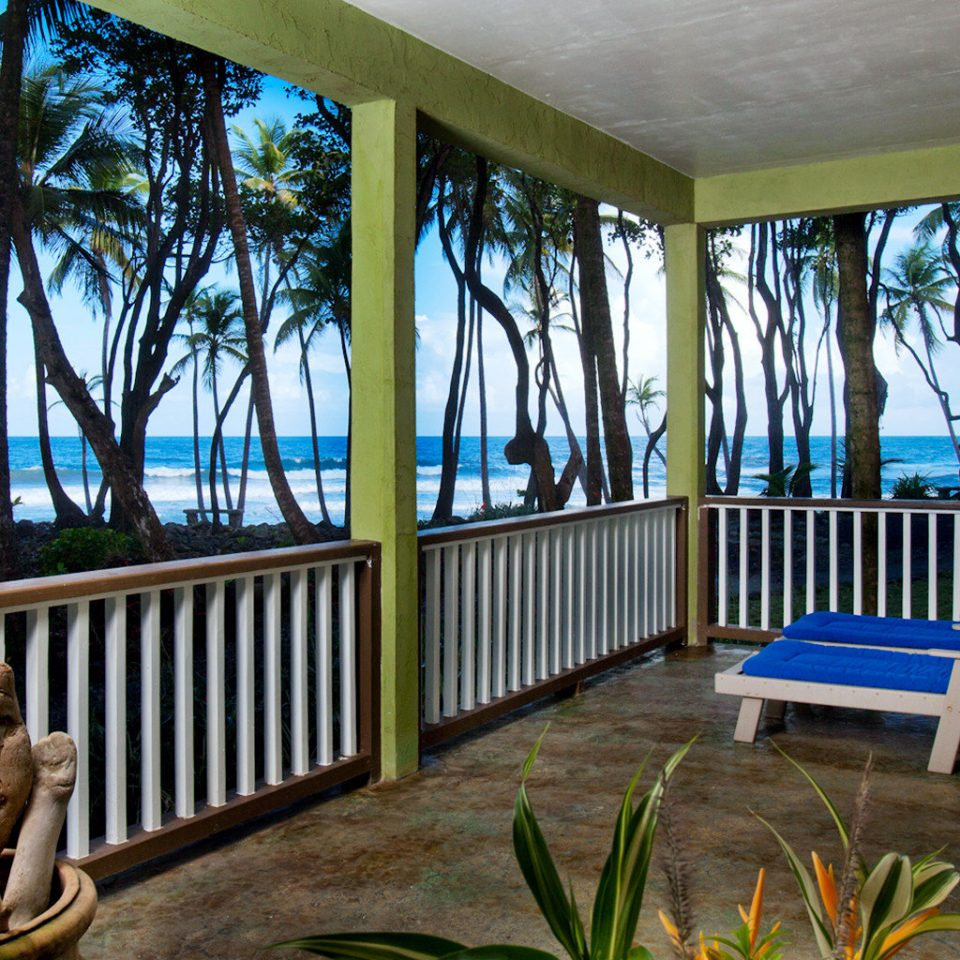 Balcony Beach Eco Rustic Waterfront building porch property house Resort home Deck Villa cottage backyard