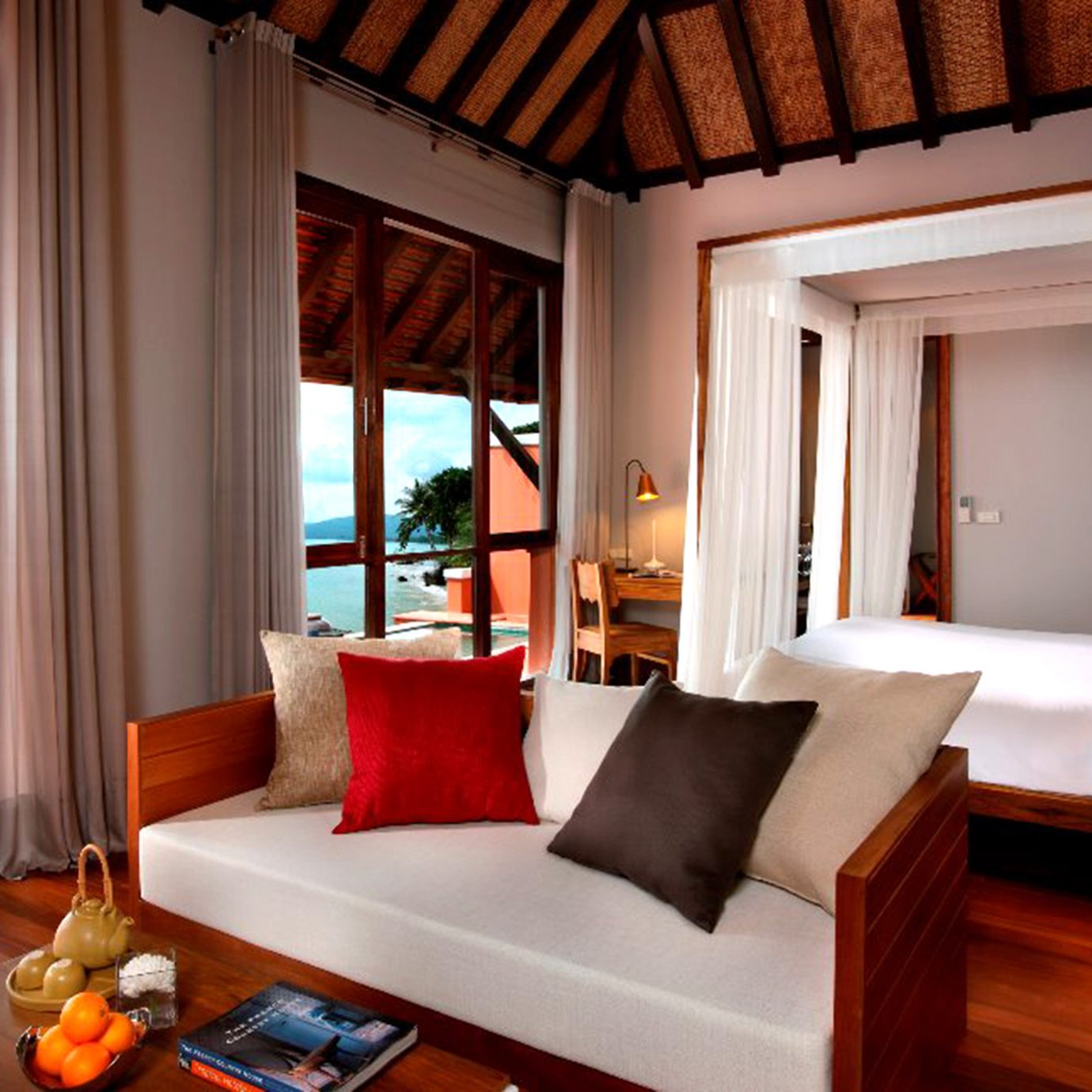 Balcony Beachfront Bedroom Cultural Jungle Resort Romantic Tropical Waterfront property living room home house Suite cottage Villa nice farmhouse flat